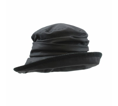 Rain hat - Eveline - black wax