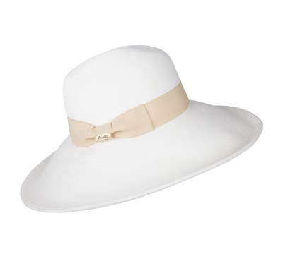Wide brim hat - Jacqueline - white/black