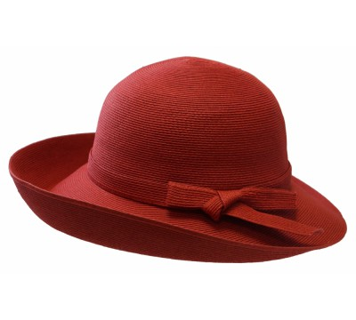 Wide brim hat - Joanna - in colour red