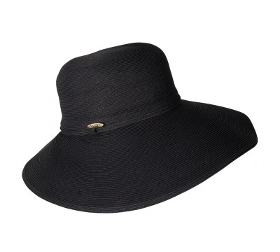 Wide Brim hat -Melina - black - travel hat