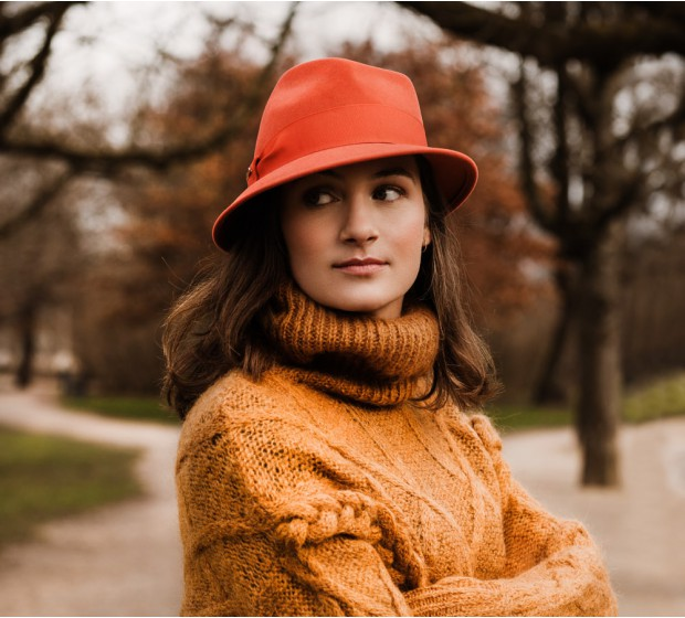 Bronté Trilby hat - Jade - orange
