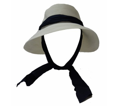 Wide brim hat - Manly - white/black