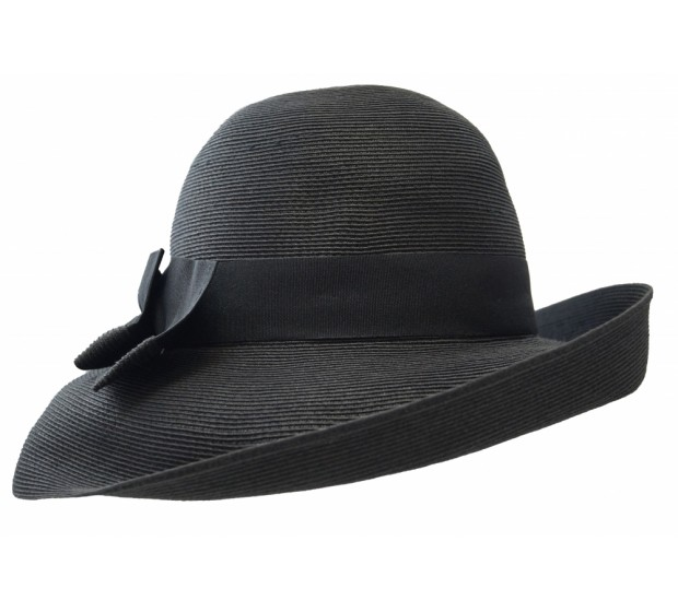 Wide brim hat - Tara - black - travel hat