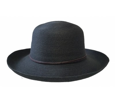 Wide brim hat - Anna - black - travel hat