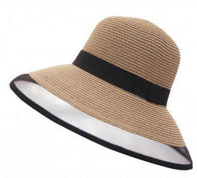Wide brim hat - Georgette - camel/black