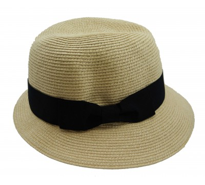 Trilby hat - Fisher hat - natural/black -  travel hat