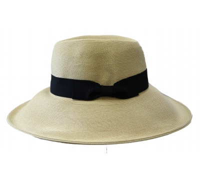 Wide brim hat - Jacqueline - natural/black