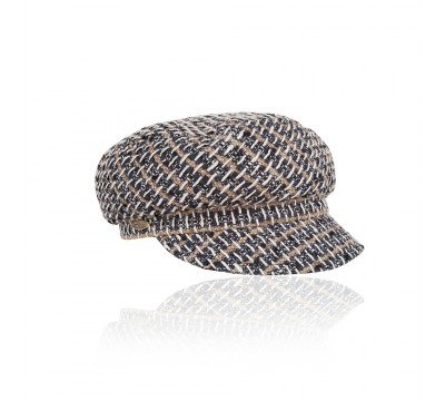 Cap - Ella- black camel Linton Tweed