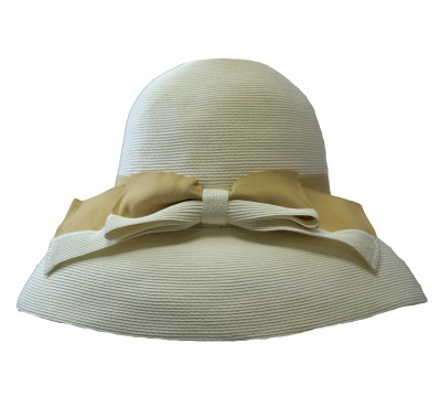 Wide brim hat - Tara - white - travel hat