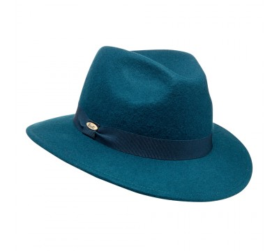 Fedora hat - Cleo ribbon - Teal Green