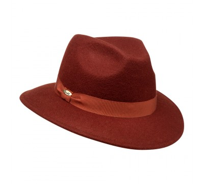 Fedora hat - Cleo Ribbon - Rust Brown