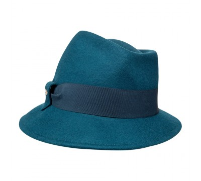 Trilby hat - Jade - teal green