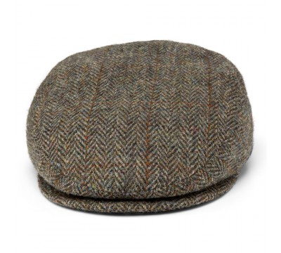Cap - Mark- brown/cognac/green - Harris Tweed