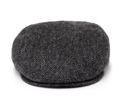 Cap - Mark- grey/ black Harris Tweed