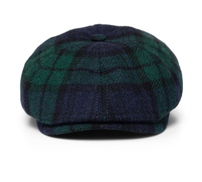 Cap - Rocky - black/green Harris Tweed