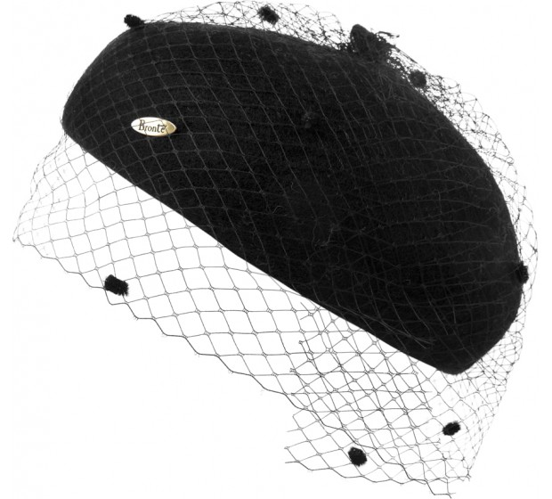 Beret - Claar- Black with veil