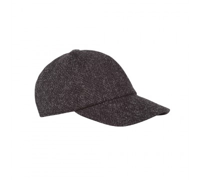 Cap - Marlon - grey/black - Harris Tweed