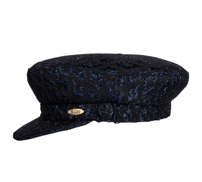 Cap - Shipper - Linton tweed - Black/navy